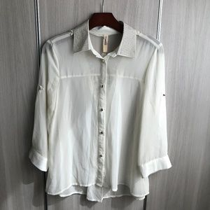 White sheer blouse with silver covered collar